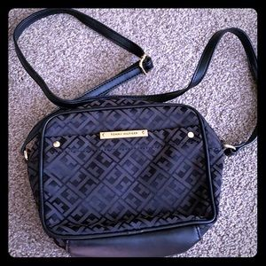 Small black purse with shoulder strap